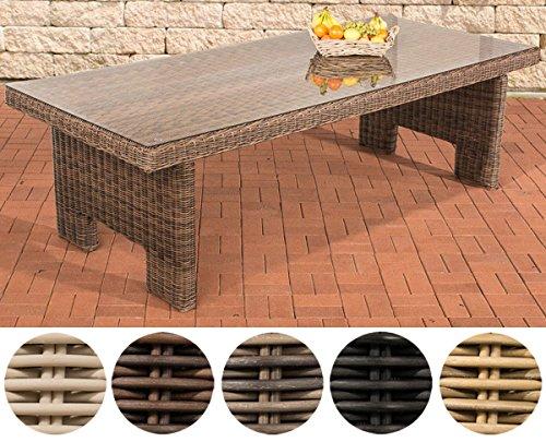 CLP Poly-Rrattan Garten-Tisch SANDNES, ALU Gestell rostfrei, 5 mm RUND-Geflecht Braun Meliert, 220 x 100 x 77 cm
