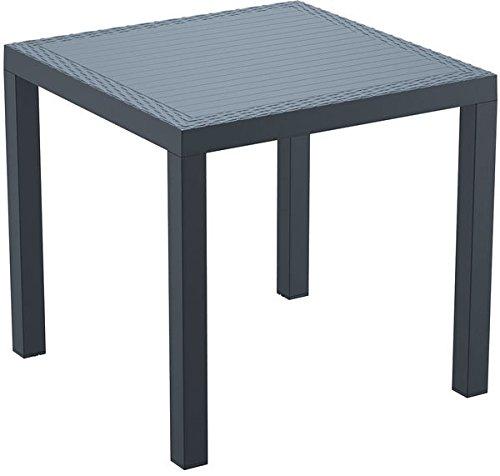 CLP Polyrattan Beistelltisch ORLANDO | Wetterfester Gartentisch aus UV-beständigem Kunststoffgeflecht | In verschiedenen Farben erhältlich Dunkelgrau