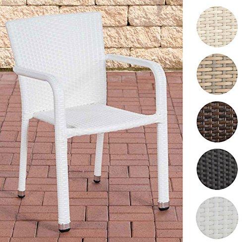 CLP Polyrattan-Gartenstuhl LEONIE | Outdoor-Stapelstuhl mit Armlehnen | Wetterbeständiger Gartenstuhl | In verschiedenen Farben erhältlich Weiß