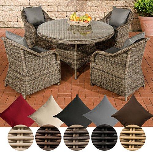 CLP Polyrattan-Sitzgruppe MOA inklusive Polsterauflagen | Garten-Set bestehend aus einem runden Esstisch mit einer pflegeleichten Tischplatte aus Glas und vier Sesseln | In verschiedenen Farben erhältlich Bezugfarbe: Eisengrau, Rattan Farbe grau-meliert
