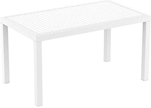CLP Polyrattan-Tisch ORLANDO | Wetterfester Gartentisch aus UV-beständigem Kunststoffgeflecht | In verschiedenen Farben erhältlich Weiß