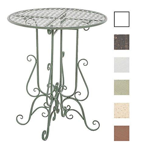 CLP Runder Eisentisch MATIN in nostalgischem Design | Gartentisch mit geschwungenen Beinen | In verschiedenen Farben erhältlich Antik Grün