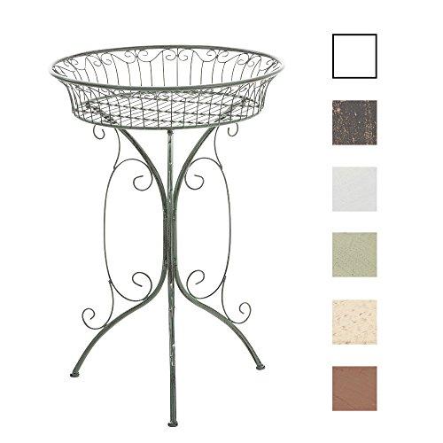 CLP Runder Eisentisch Margo in nostalgischem Design | Robuster Beistelltisch aus Eisen | Blumentisch mit kunstvollen Verzierungen | In verschiedenen Farben erhältlich Antik Grün