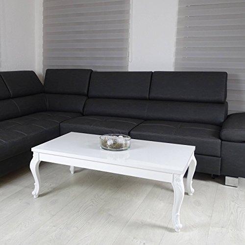 Couchtisch 3 Größen Hochglanz Weiß Lack Blüten Tisch Beistelltisch Holz Lack 115 x 65 cm