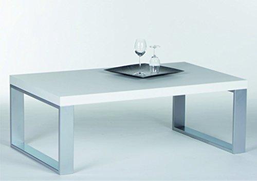 Couchtisch Steel 16733 Wohnzimmertisch Tisch Weiߟ Hochglanz / Metall