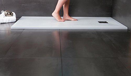 Designer Duschtasse - Mineralguss Duschtasse 80 x 120 - STONE - Weiß