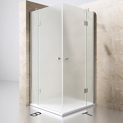 Duschabtrennung 90x90 cm, Satiniert, 8mm ESG-Sicherheitsglas & Lotuseffekt, 2 Pendeltüren, Duschwand Mit Eckeinstieg Ravenna01