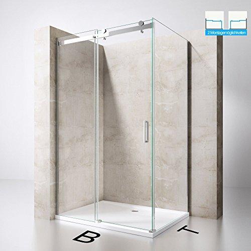 Duschabtrennung Duschkabine Ravenna17 aus 8mm ESG-Sicherheitsglas, in Klarglas inkl. Duschtasse, L-Form, mit Schiebetür, TBH: 90x120x195cm, inkl. beidseitiger NANO-Beschichtung, Duschwand