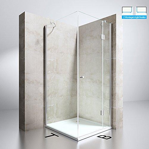 Duschabtrennung Klarglas 100x100, 8mm ESG-Sicherheitsglas, Duschwand aus Echtglas, Nanobeschichtung, Duschkabine Ravenna05k