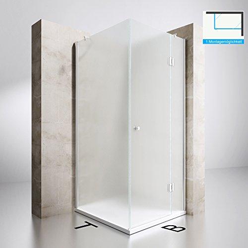 Duschabtrennung Milchglas 80x90, 8mm ESG-Sicherheitsglas, Duschwand aus Echtglas, Nanobeschichtung, Duschkabine Ravenna05S