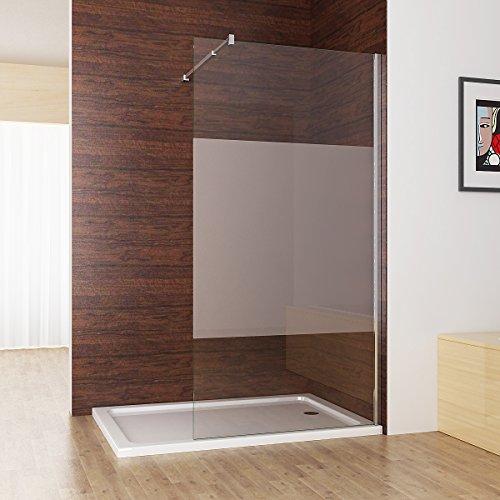 Duschabtrennung walk in Duschwand Dusche 10mm NANO teilsatiniert Glas milchglas Duschtrennwand 120 x 200 cm CC12