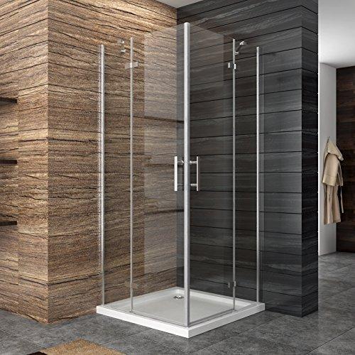 Dusche Duschkabine Duschabtrennung 90x90cm Eckeinstieg Duschtür Eckdusche Duschwand aus Sicherheitsglas