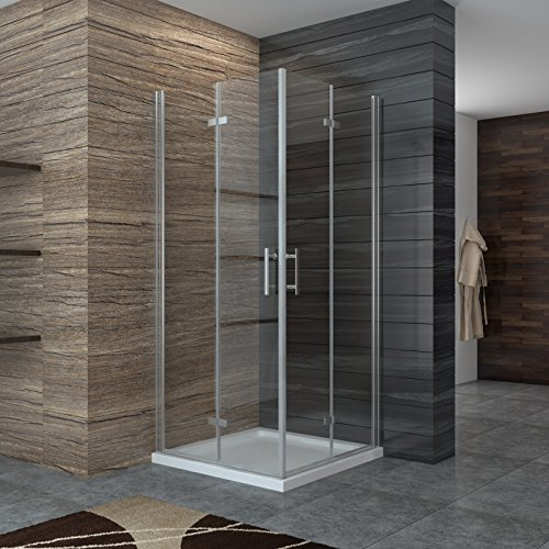 Dusche Duschkabine Falttür Duschabtrennung 100x100cm Eckeinstieg Duschtür Eckdusche Duschwand aus Sicherheitsglas