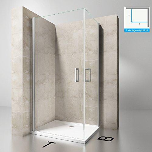 Duschkabine 100x100 Eckeinstieg Hebe-Senk Mechanismus Duschabtrennung ESG-Sicherheitsglas Lotus-Effekt Faltbar Ravenna24