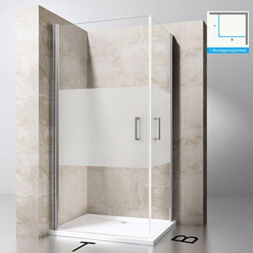 Duschkabine 90x75 Eckeinstieg Hebe-Senk Mechanismus Duschabtrennung ESG-Sicherheitsglas Lotus-Effekt Faltbar Ravenna24ms