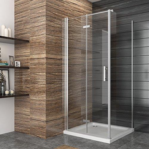 Duschkabine Eckeinstieg 90x90cm Falttür Duschabtrennung Duschtür Eckdusche Duschwand aus Sicherheitsglas 90x90cm