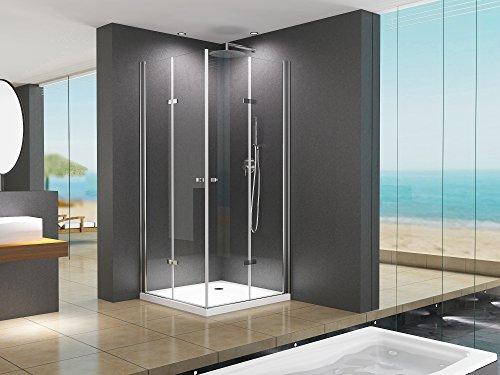 Duschkabine Eckeinstieg Dusche Caroline 90 x 90 x 180cm / 8mm / ohne Duschtasse