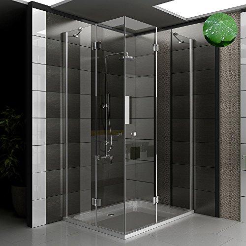 Duschkabine Eckeinstieg Dusche inkl. Nano Duschwand Duschabtrennung Wannenmaß 120x90x195 Ecke Dusche