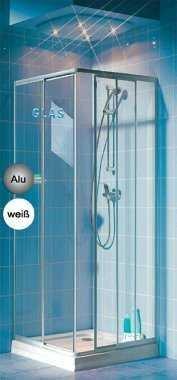 Eckeinstieg Duschkabine Echtglas Sicherheitsglas Silberne Profile Links 68 bis 83 und Rechts 73 bis 90cm Sondermass