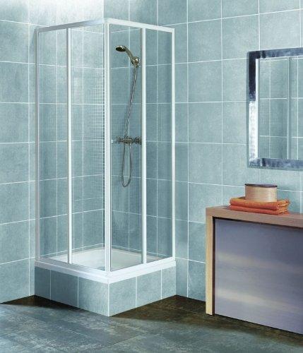 Eckeinstieg Duschkabine Echtglas Sicherheitsglas Weisse Profile 80x80 90x90 80x90 90x80