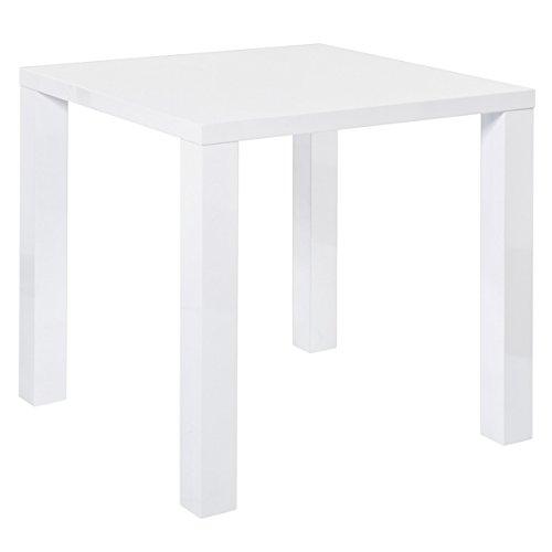 Esstisch PORTLAND Dinnertisch Tisch Esszimmertisch Küchentisch hochglanz weiß (80 x 80 x 75 cm)