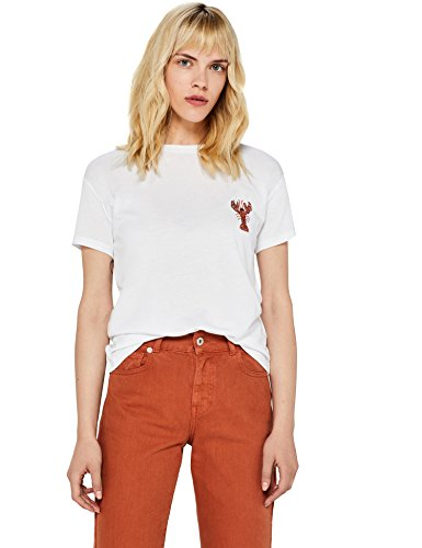 FIND Damen T-Shirt mit Motiv Aus Pailletten, Weiß (White), 42 (XL)