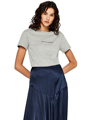 FIND Damen T-Shirt mit Slogan-Print, Grau (Grey), 40 (Herstellergröße: Large)