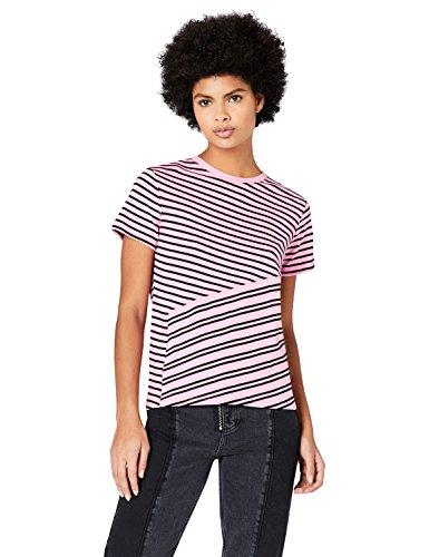 FIND Damen T-Shirt mit Streifen, Rosa (Pink), X-Large