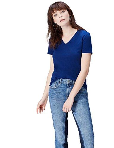 FIND Damen T-Shirt mit V-Ausschnitt Blau, 40 (Herstellergröße: Large)