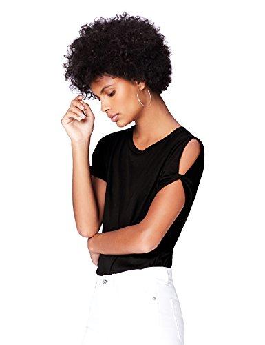 FIND T-Shirt Damen Off-Shoulder-Schlitzen Abgerundeter Saum, Schwarz (Black), 38 (Herstellergröße: Medium)