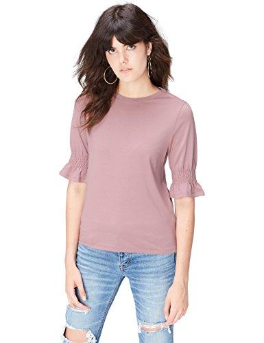 FIND T-Shirt Damen mit Gerafften und gerüschten Ärmeln, Rundem Ausschnitt und Lockerer Passform, Rosa, 34 (Herstellergröße: X-Small)