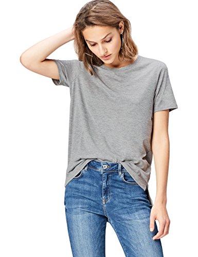 FIND T-Shirt Damen mit verkürzter Front, Rundem Halsausschnitt und Lockerer Passform, Grau (Grey Marl), 38 (Herstellergröße: Medium)