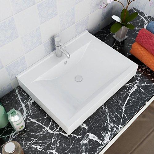 Festnight Keramik Waschtisch Waschbecken Rechteckig Badezimmer Becken Handwaschbecken Weiß 60 x 46 cm