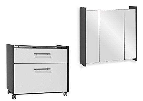 Galdem Badmöbel-Set Frosti mit Waschbeckenunterschrank Spiegelschrank Badezimmer Badschrank Unterschrank