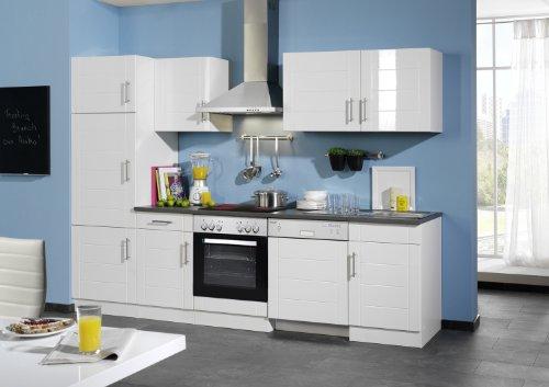 Held Möbel 691.6033 Küchenzeile 280 in Hochglanz-weiß / weiß / anthrazit mit E-Geräten