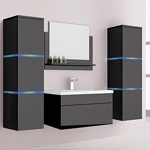 Home Deluxe | Badmöbel-Set | Wangerooge schwarz | inkl. Waschbecken und komplettem Zubehör | verschiedene Größen