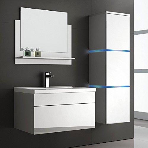 Home Deluxe | Badmöbel-Set | Wangerooge weiß | L | inkl. Waschbecken und komplettem Zubehör | verschiedene Größen