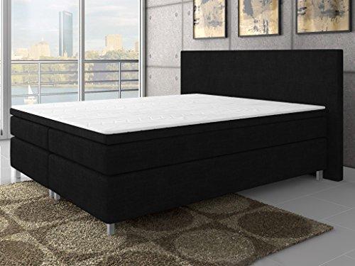 Inter 15530 Boxspringbett, Stoff, schwarz, 200 x 180 x 60 cm