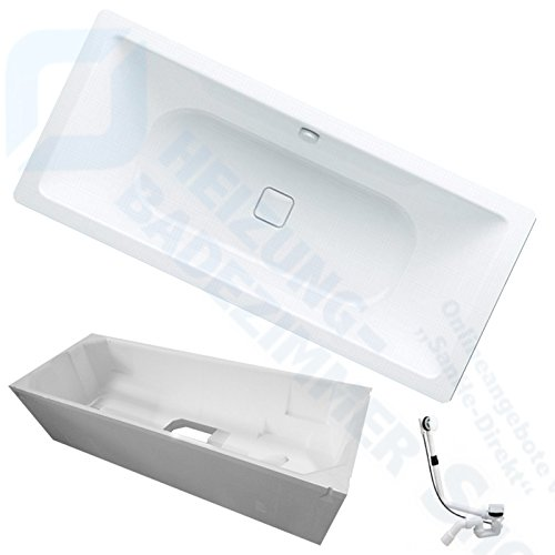 Kaldewei Conoduo Stahl Badewanne inkl. Wannenträger und Ablaufgarnitur (733 Badewanne 180/80 cm)