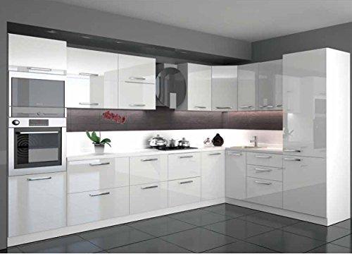 Küche L Form Hochglanz 3,40 m x 2,20 m mit E-Geräten.Selbstschließfunktion.