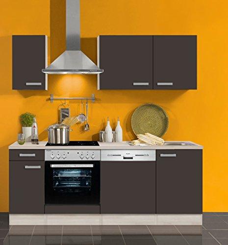 Küchenblock mit Geschirrspüler und Glaskeramikkochfeld Faro 210 cm in Anthrazit
