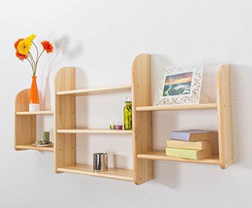 Küchenregal Hängeregal Küchen-Wandregal - 150 cm breit, Kiefer Massivholz, Farbe: Natur