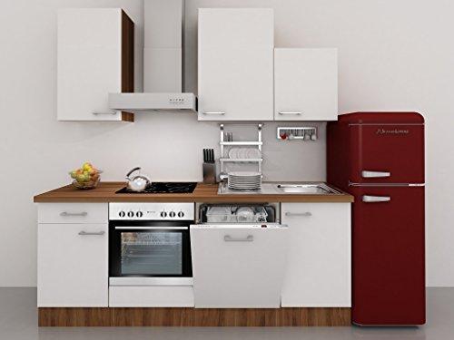 Küchenzeile 220 cm Weiß mit Dessauer Geräten und Retro Kühlschrank - Como