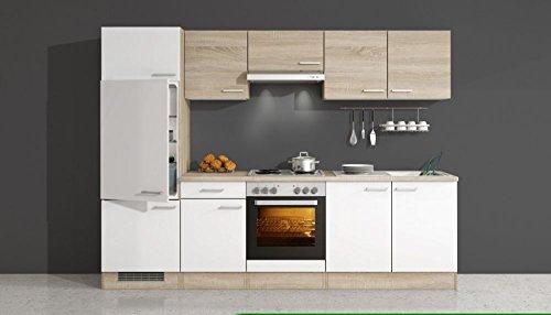 Küchenzeile 270 cm Weiß Sonoma Eiche mit Geräten - Salerno