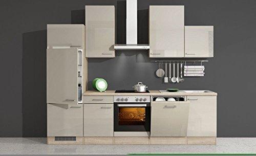 Küchenzeile 280 cm Kaschmir Glanz mit Geschirrspüler - Neapel