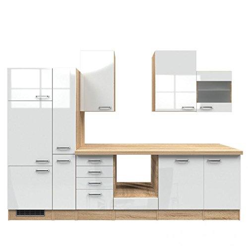 Küchenzeile 310 cm ohne Geräte Hochglanz Weiß Sonoma Eiche mit Schubkastenschrank - Valencia