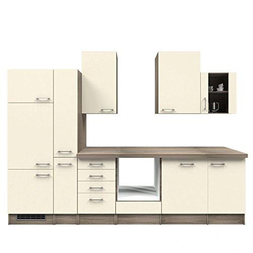 Küchenzeile 310 cm ohne Geräte Magnolie mit Schubkastenschrank - Magnolia