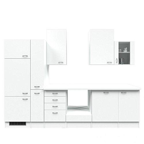 Küchenzeile 310 cm ohne Geräte Weiß mit Schubkastenschrank - Witus