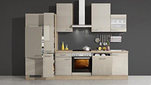 Küchenzeile Kaschmir Glanz 310 cm mit Geräten und Glashängeschrank - Neapel