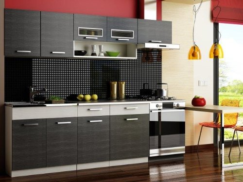 Komplett Küche 240cm Schränke, Küchenzeilen MORENO SCHWARZ - GRAU